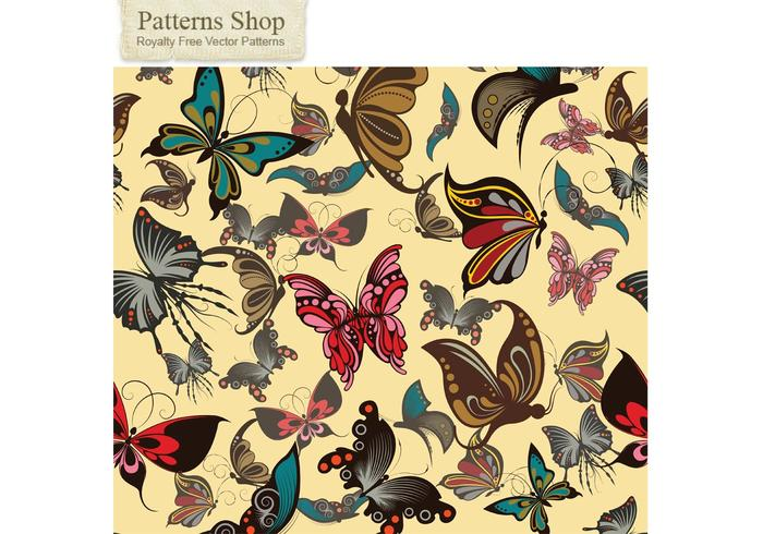 Free vector butterflies seamless pattern