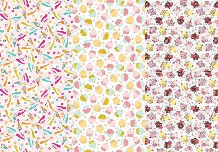 Cupcakes and Cones Illustrator Patterns vector