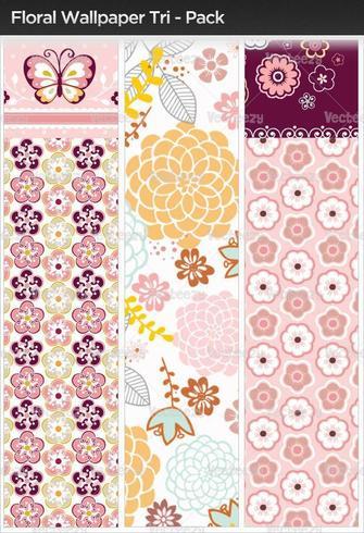 Floral Wallpaper Tri-Pack vektor