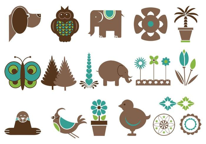 Cute Animals and Flowers Vector Pack