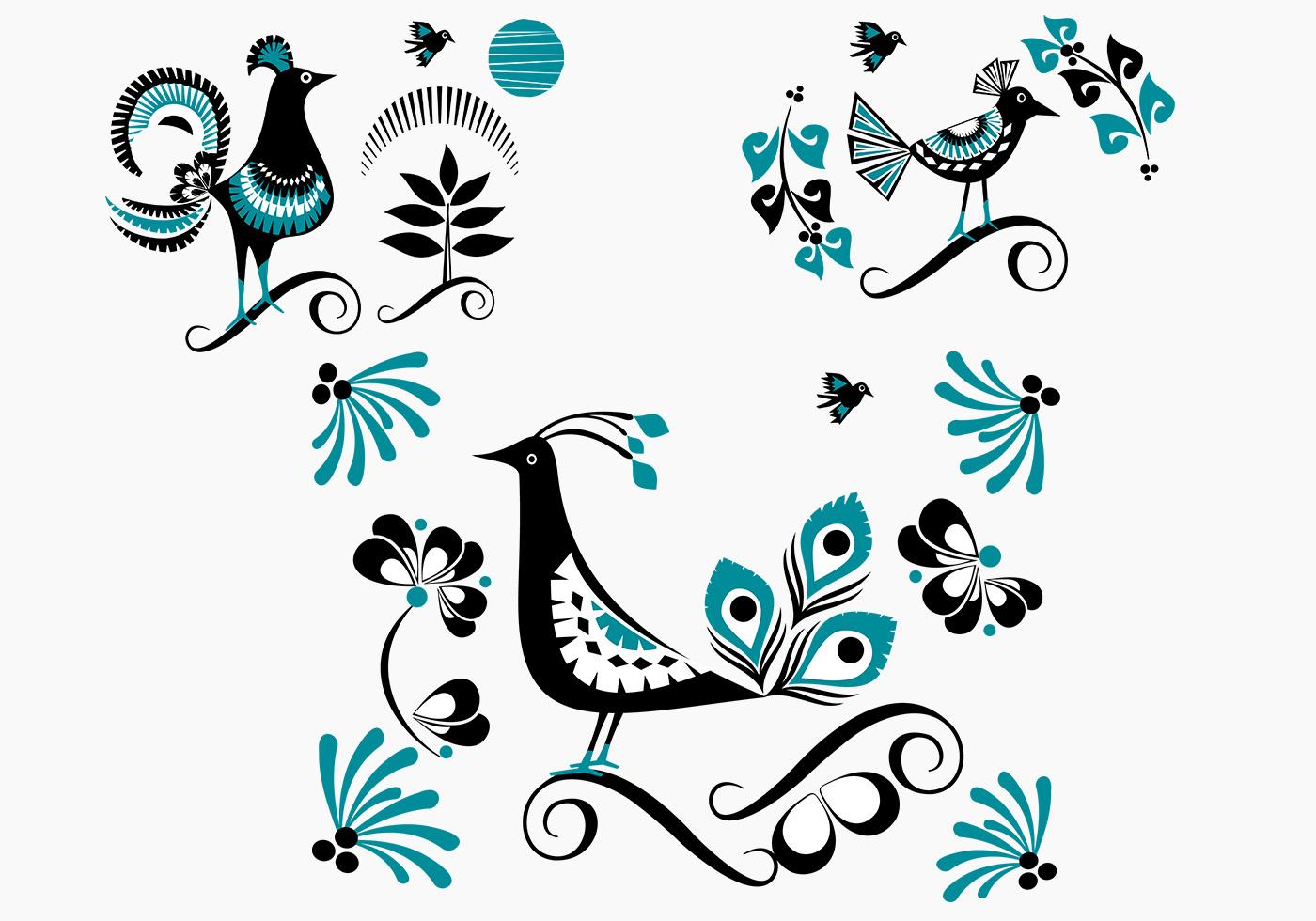 Pájaro vector azul aves florales Pack - Descargue Gráficos y ...