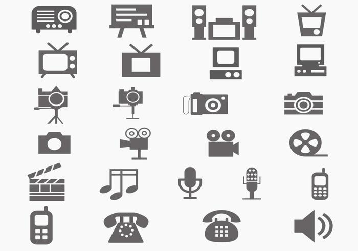 Multi media vector icon pack