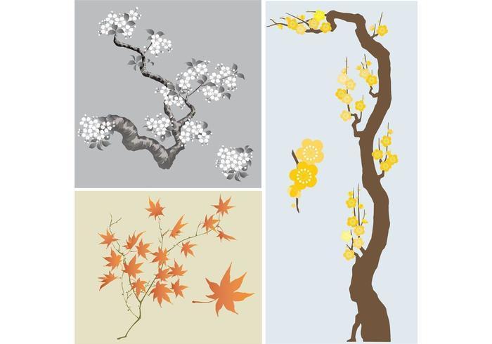 Paquet vectoriel japonais d'arbres