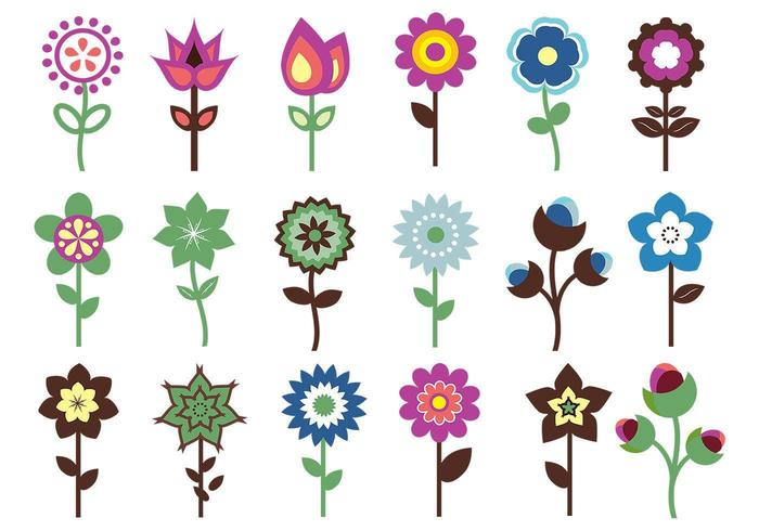 Retro Flower Vector Pack