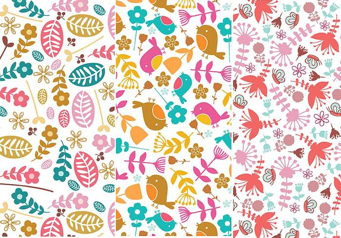 Fleur et Bird Illustrator Patterns