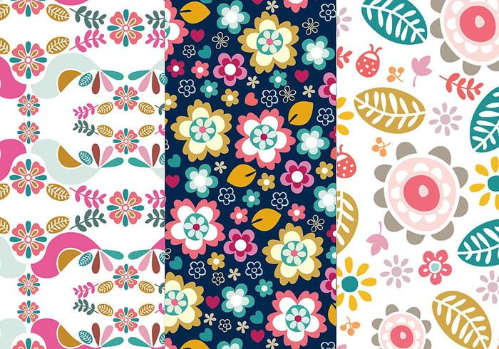 Flores y pájaros Illustrator Pattern Pack Dos vector