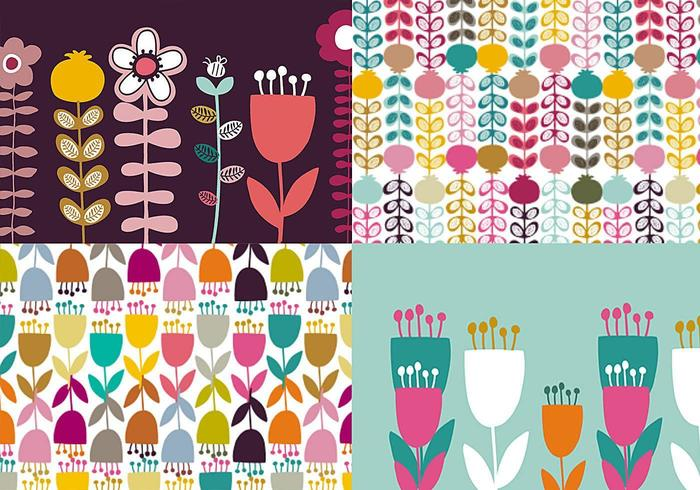 Daisy and Tulip Patterns and Wallpapers vector