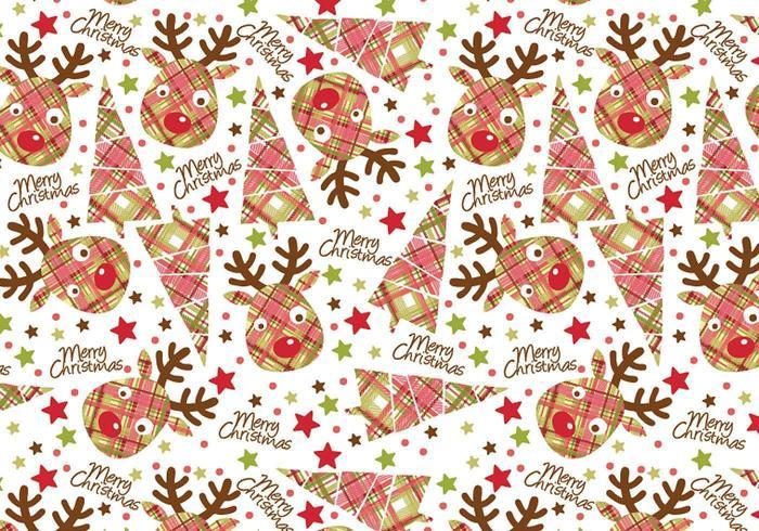 Kerst reindeer Tag en Illustrator Patroon Pack