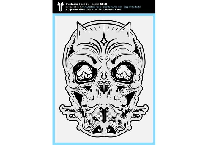 FF 26: Devil Skull Black and White