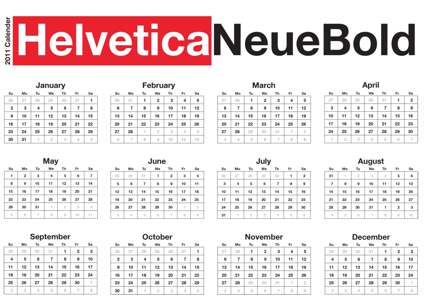 Typography Calendar Free : Typographic desk calendar helvetica neue download free