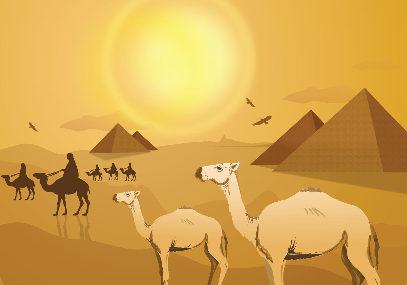 Town Landscape Vector Illustration: Egyptian Desert Landscape