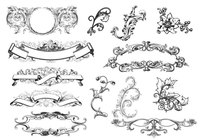 Antieke Scroll Ornament Vectoren