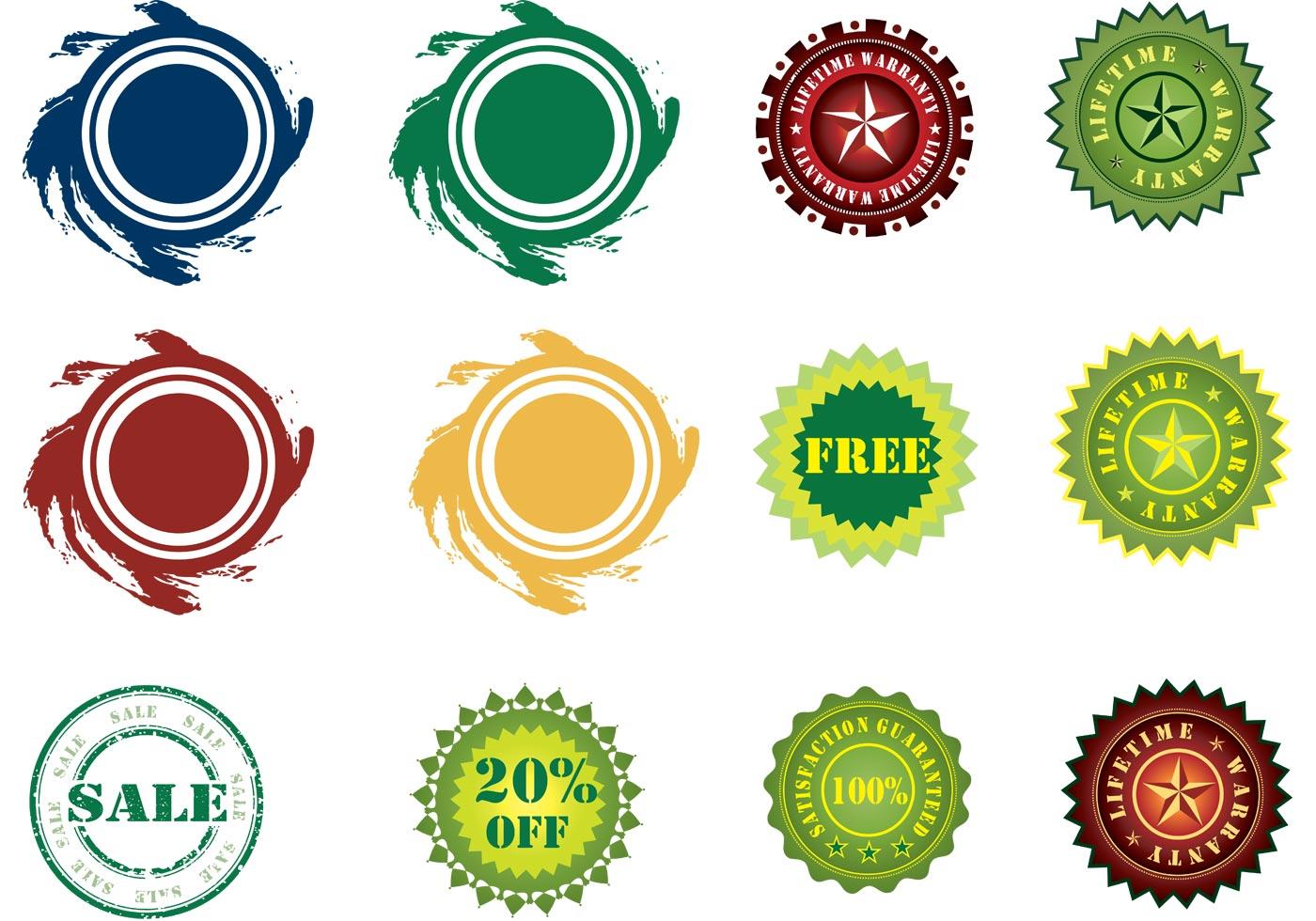 Stickers Vector Set - Download Free Vector Art, Stock ...