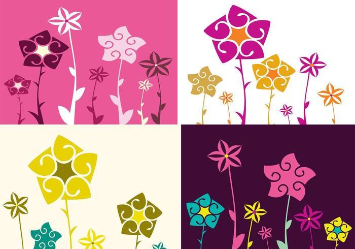Pacote de papel de parede de quatro floral Illustrator vetor
