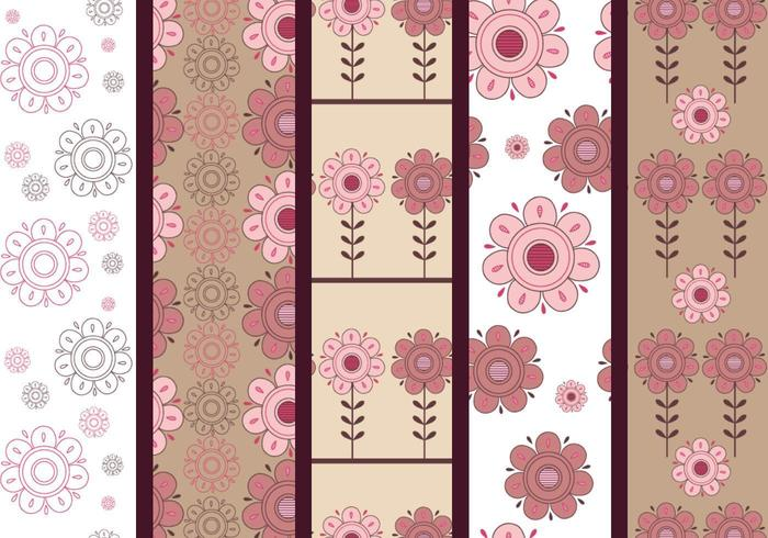 Motifs d'illustrateur floral rose et marron vecteur