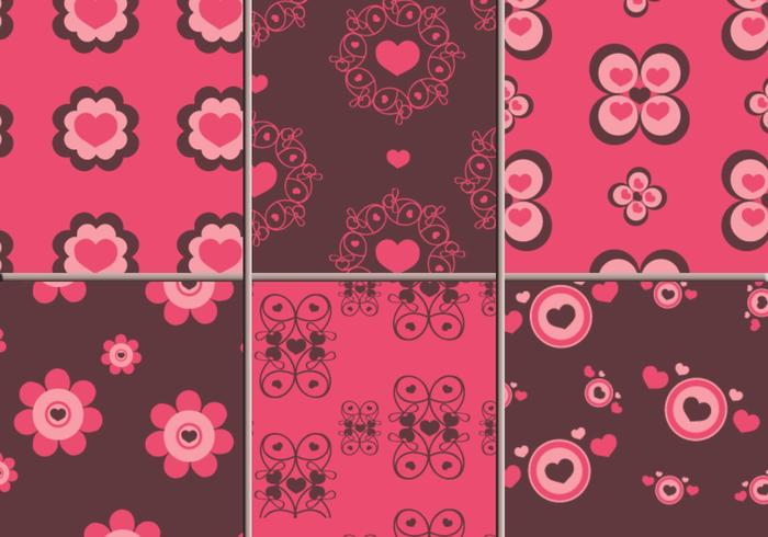 Pink & Brown Hearts Illustrator Patterns