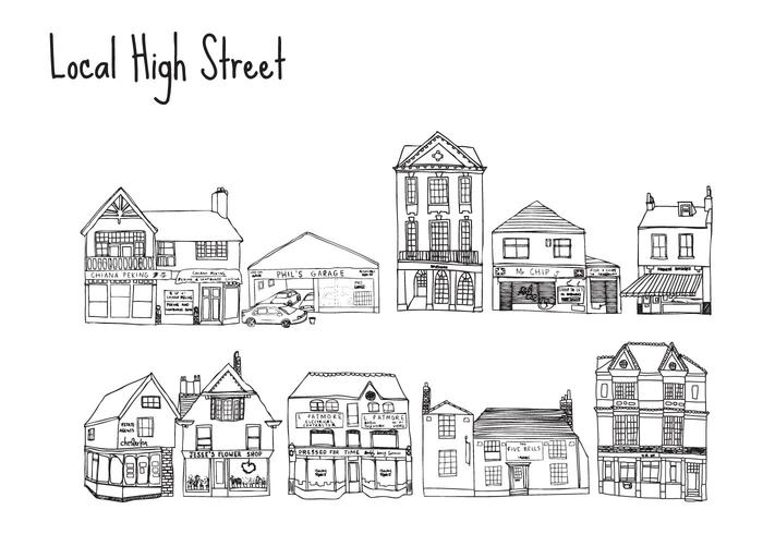 Free Hand Drawn High Street Shops Vectors!!!