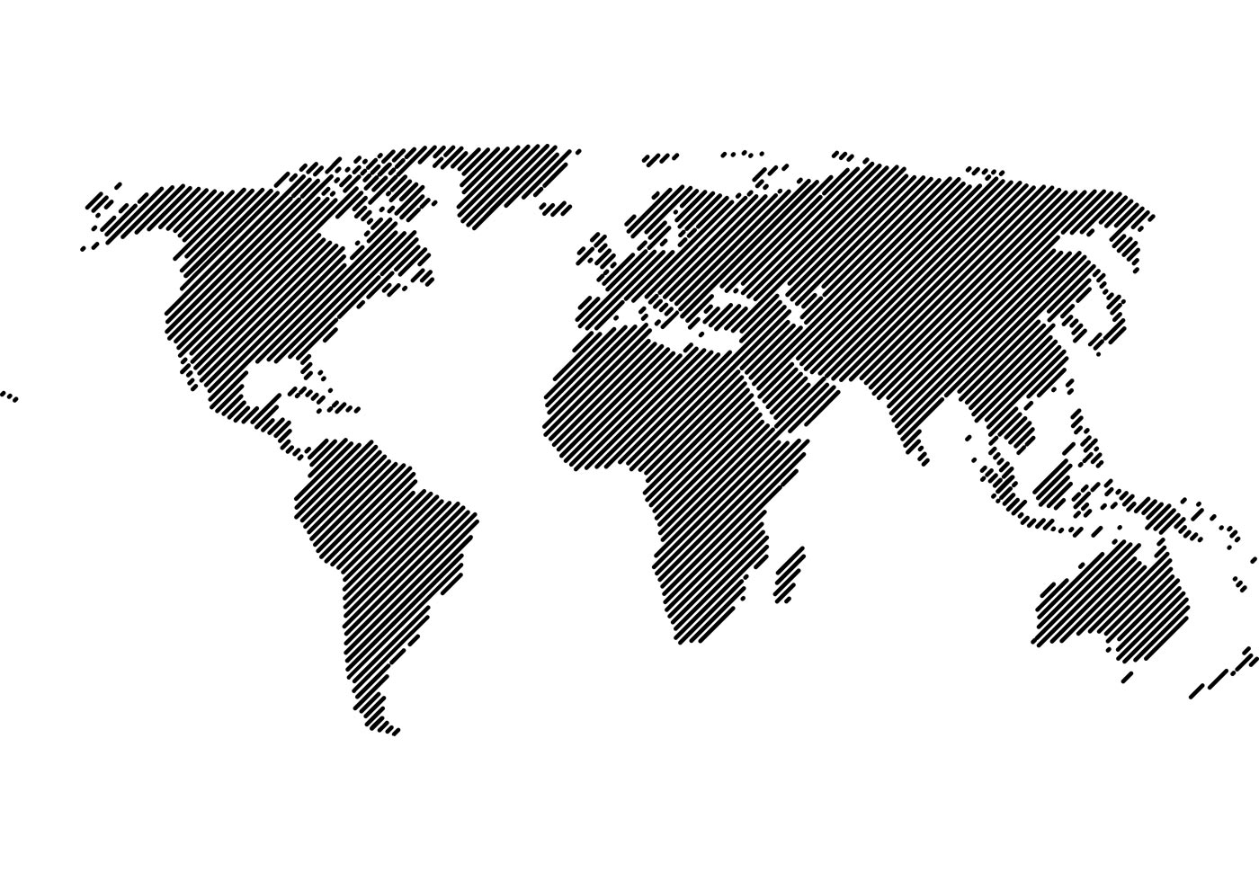 Free World Map 45° Lines Vector