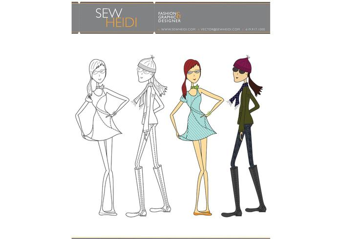 Outfitted Female Fashion Sketch Vectors