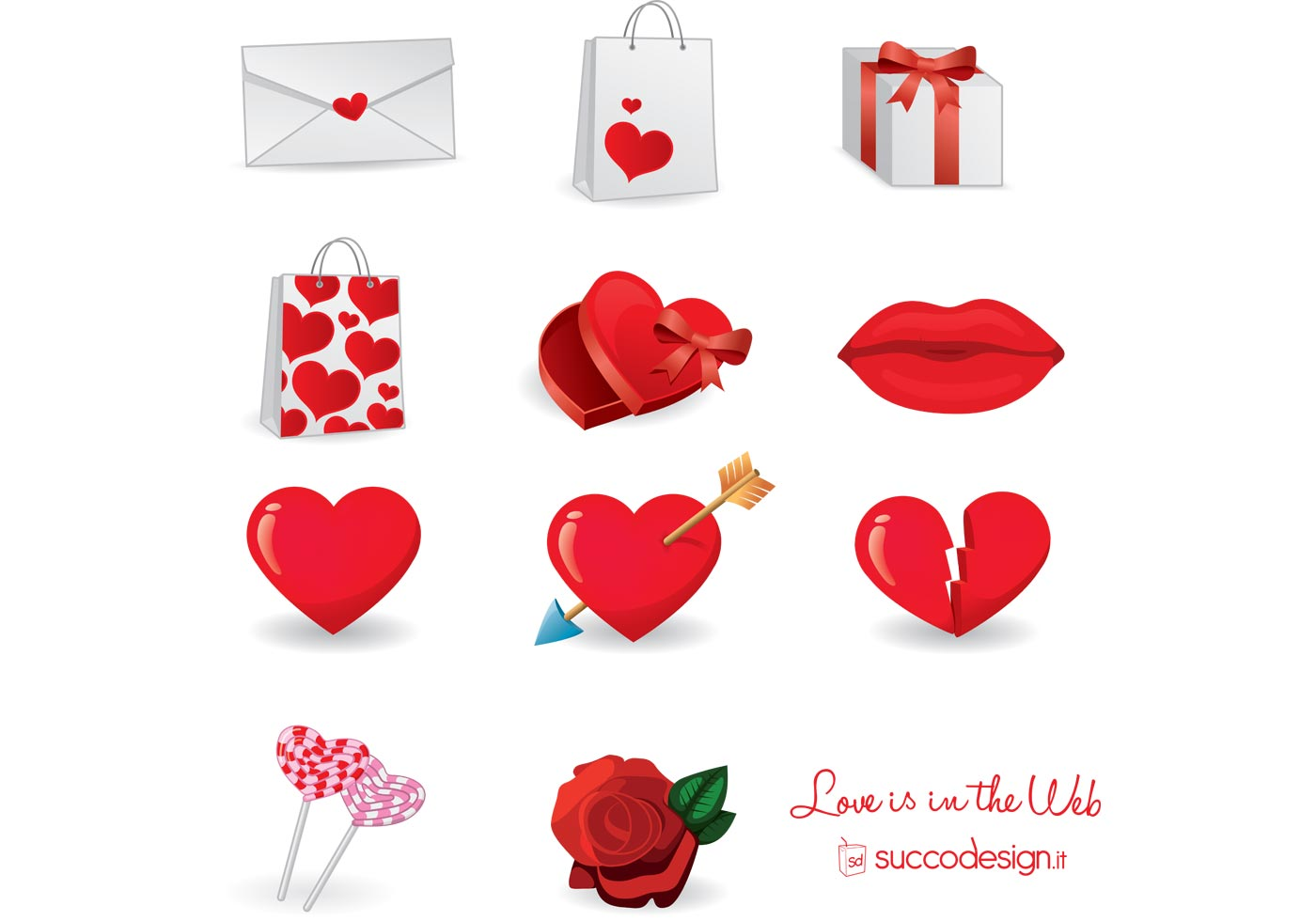 Free Vector Icon Set for Valentine's Day