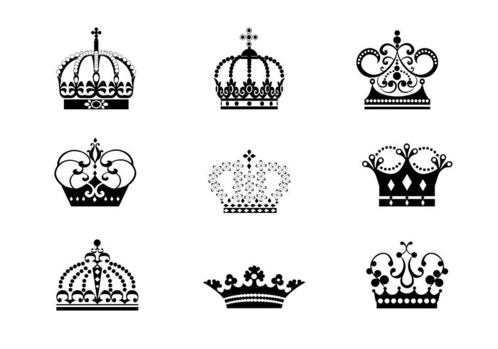 9 Detailed Crowns Vectors