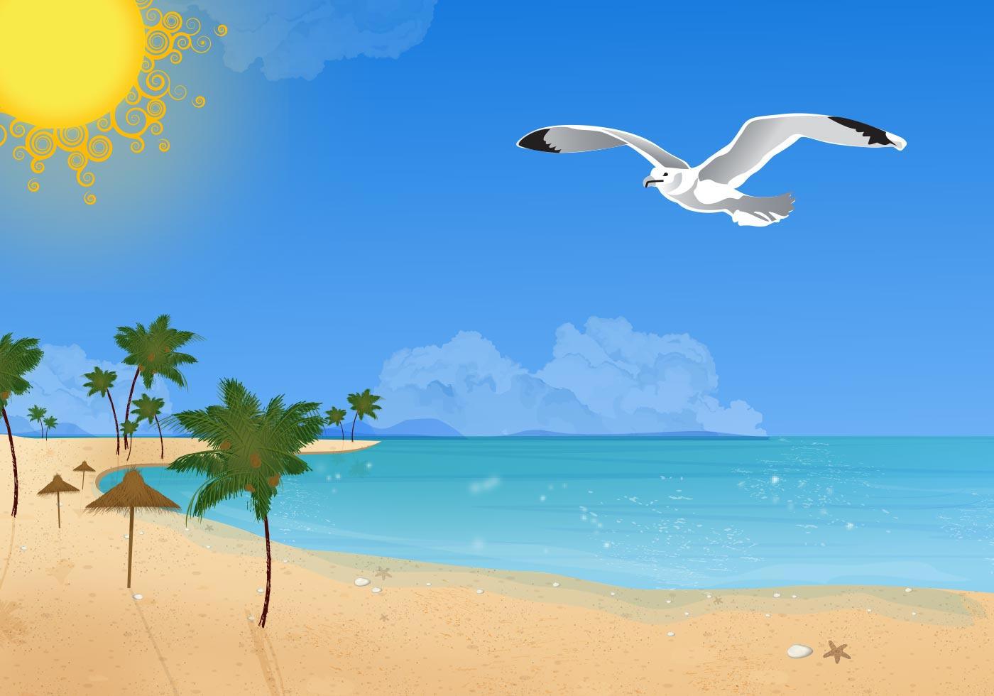 Summer beach with Seagulls - Download Free Vector Art ...