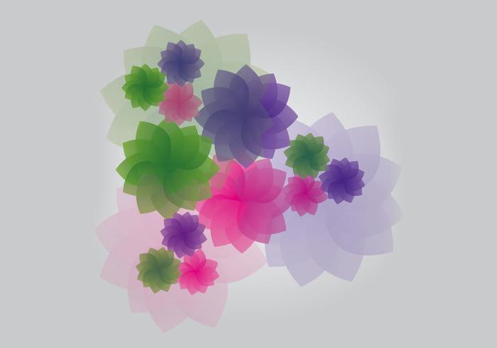Purple, Green & Pink Simple Flower Vector