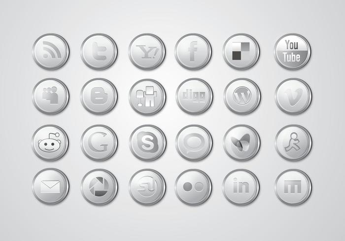 Silver social media icon pack