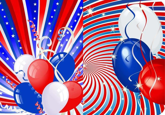Stars, Stripes, and Balloons Vector Wallpaper Pack