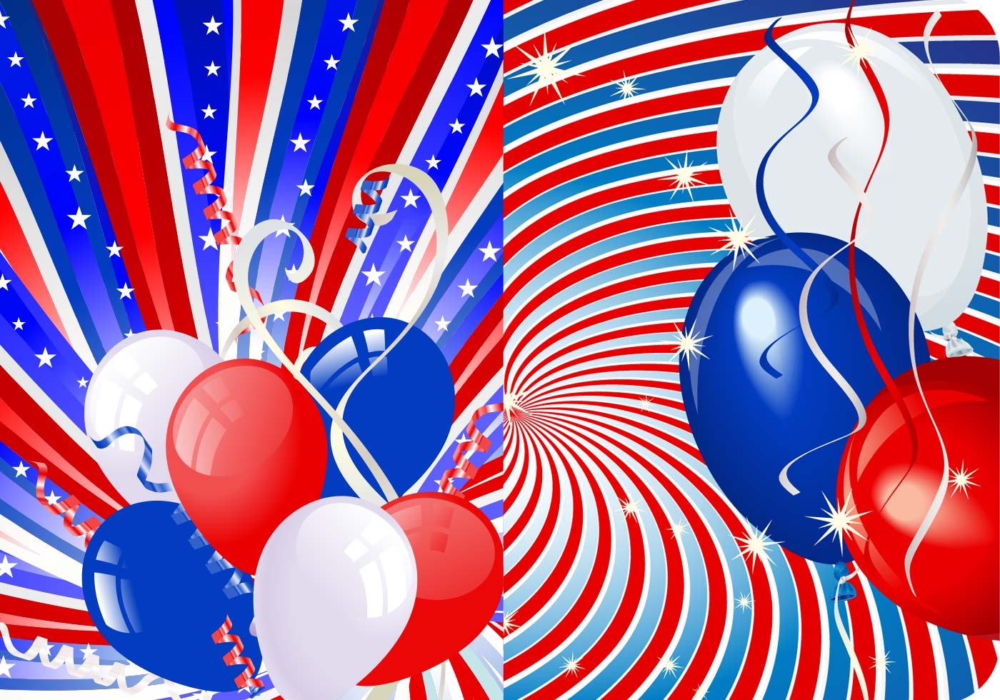 Stars, Stripes, and Balloons Vector Wallpaper Pack ...