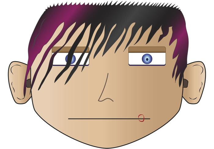 Emo, Punk, Angry Face Vectors
