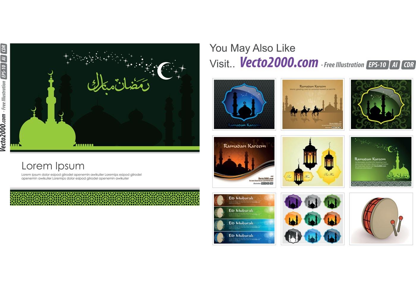 islamic greeting card template for ramadan kareem or eidilfitr