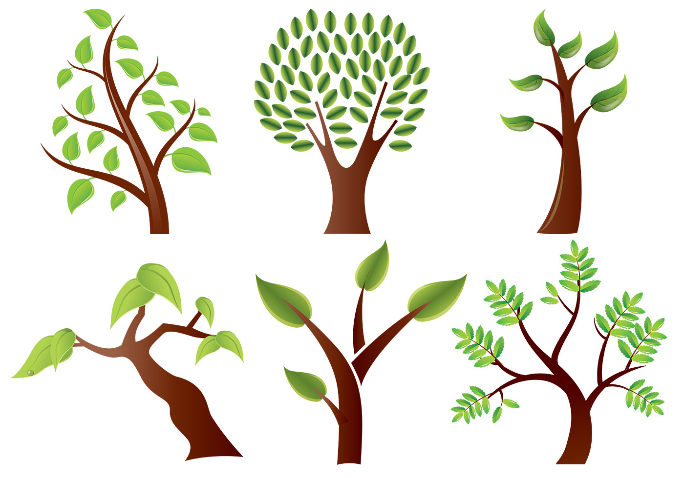 Stylized Trees Vector Pack - Download Free Vectors ...