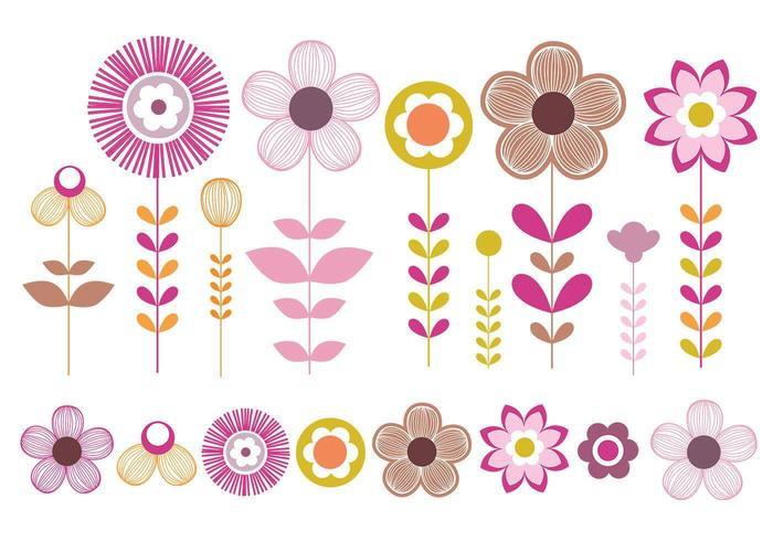 Rosa und Gold Blumen Vektor Pack