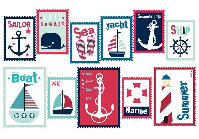 Sailor Summer Stamp Vector Pack