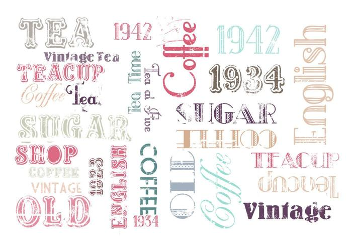 Vintage Kaffe och Tea Vector Pack