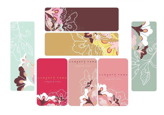 Floral Business Card and Banner Vectors