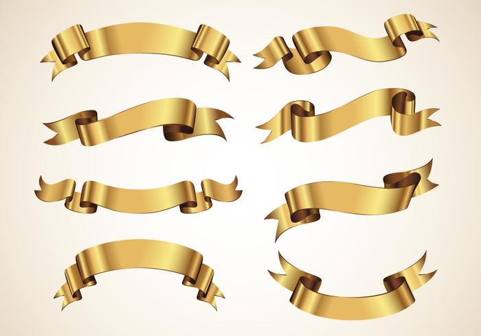 Golden Decorative Vector Ribbons Set