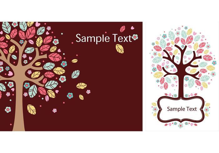 Conjunto de papel tapiz de vector de árboles vivos