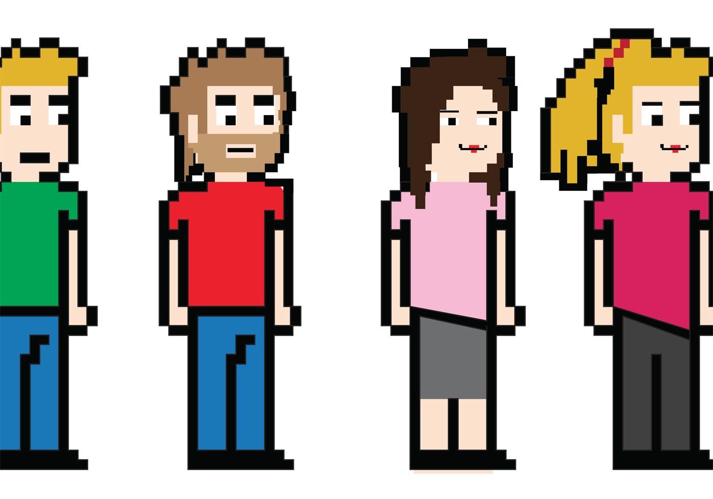 8 Bit Cartoon Characters : Free bit character vectors