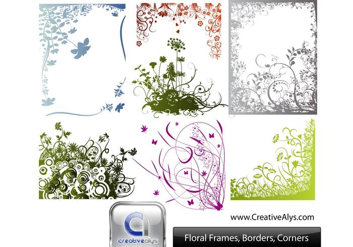 vector floral frames borders corners