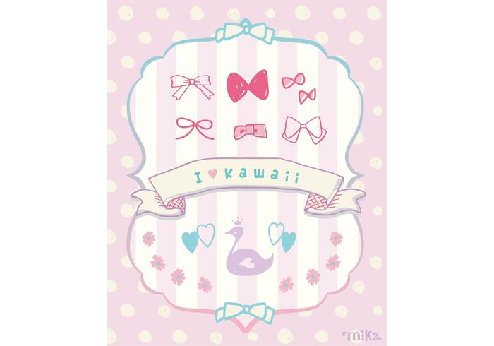 "KAWAII Vector ""Ribbons&Flower&Swan"""