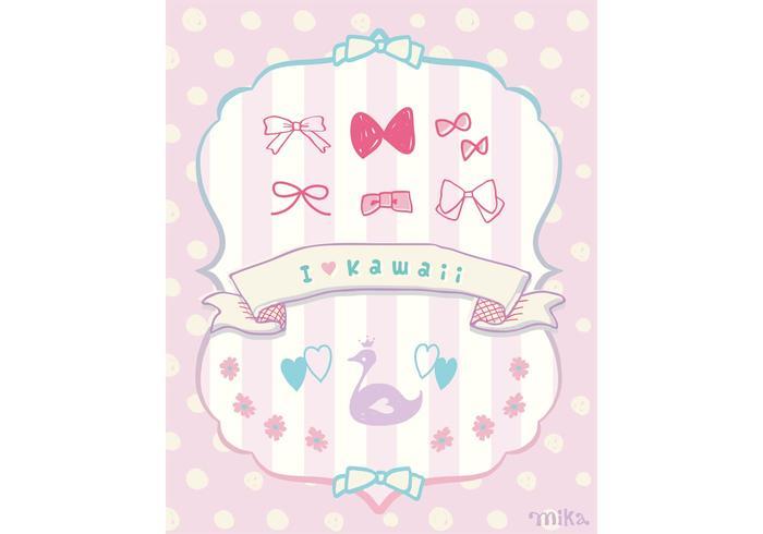 "KAWAII Vector ""Ribbons&Flower&Swan"""