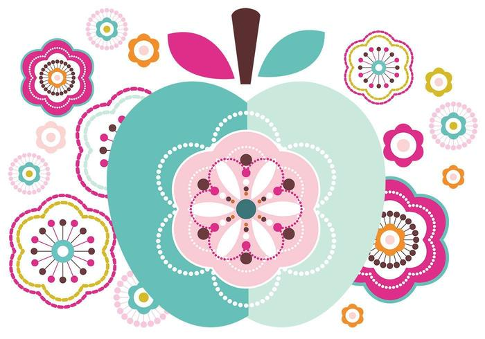 Abstract vectorpakket van Apple en bloemen vector