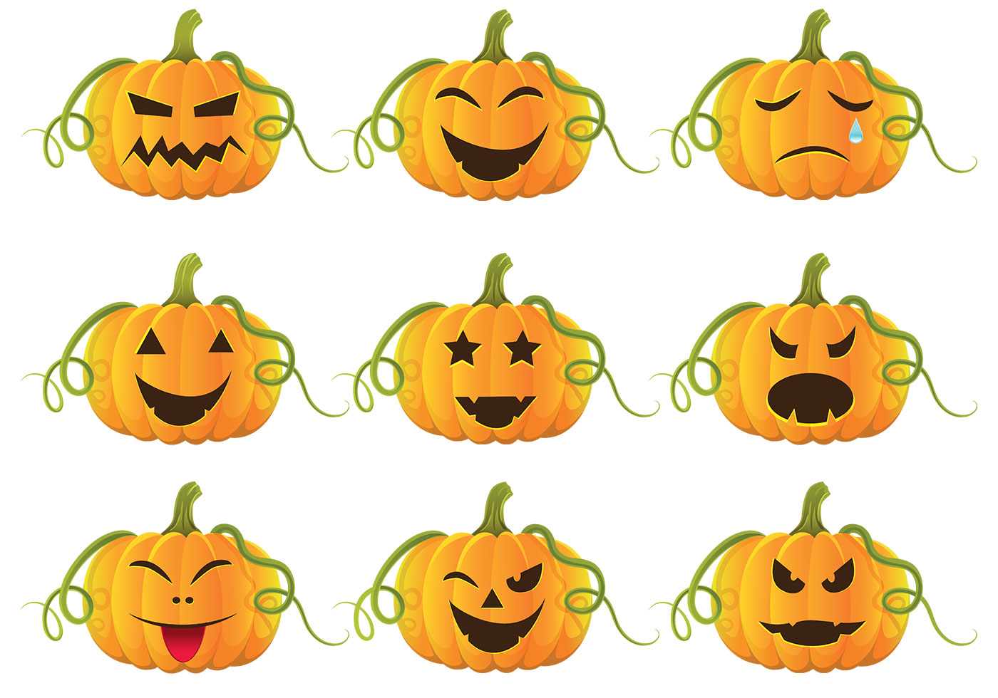 Intagliare Zucca Per Halloween Disegni pacchetto di vettore di zucche di halloween - scarica