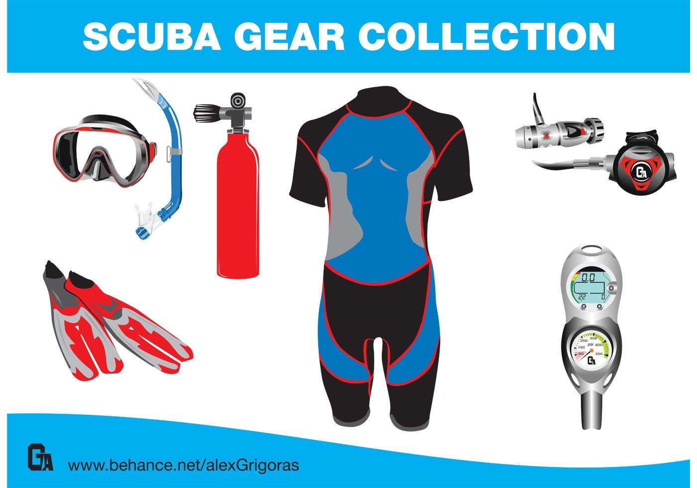 Free Scuba Gear Collection Vectors
