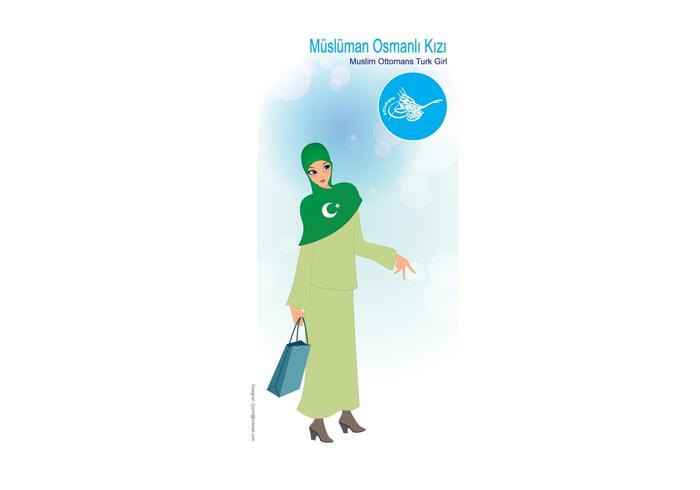 Ottomans, Turk, Muslim Girl Vector