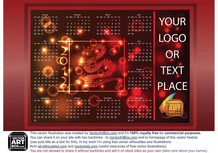 Dragon Calendar Template of 2012