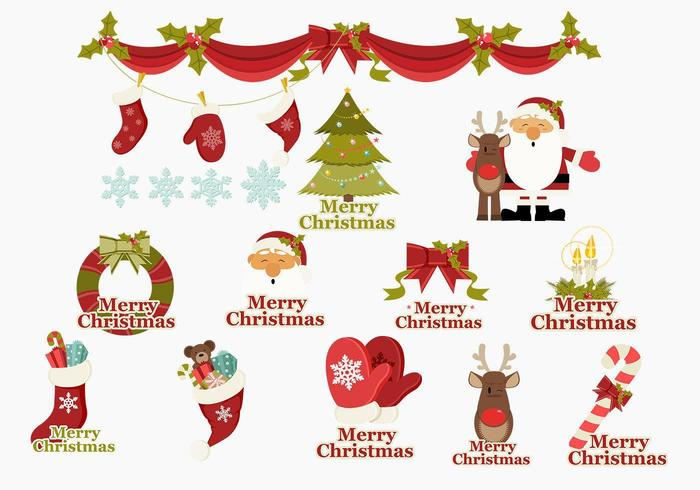 Merry Christmas Icons Vector Pack