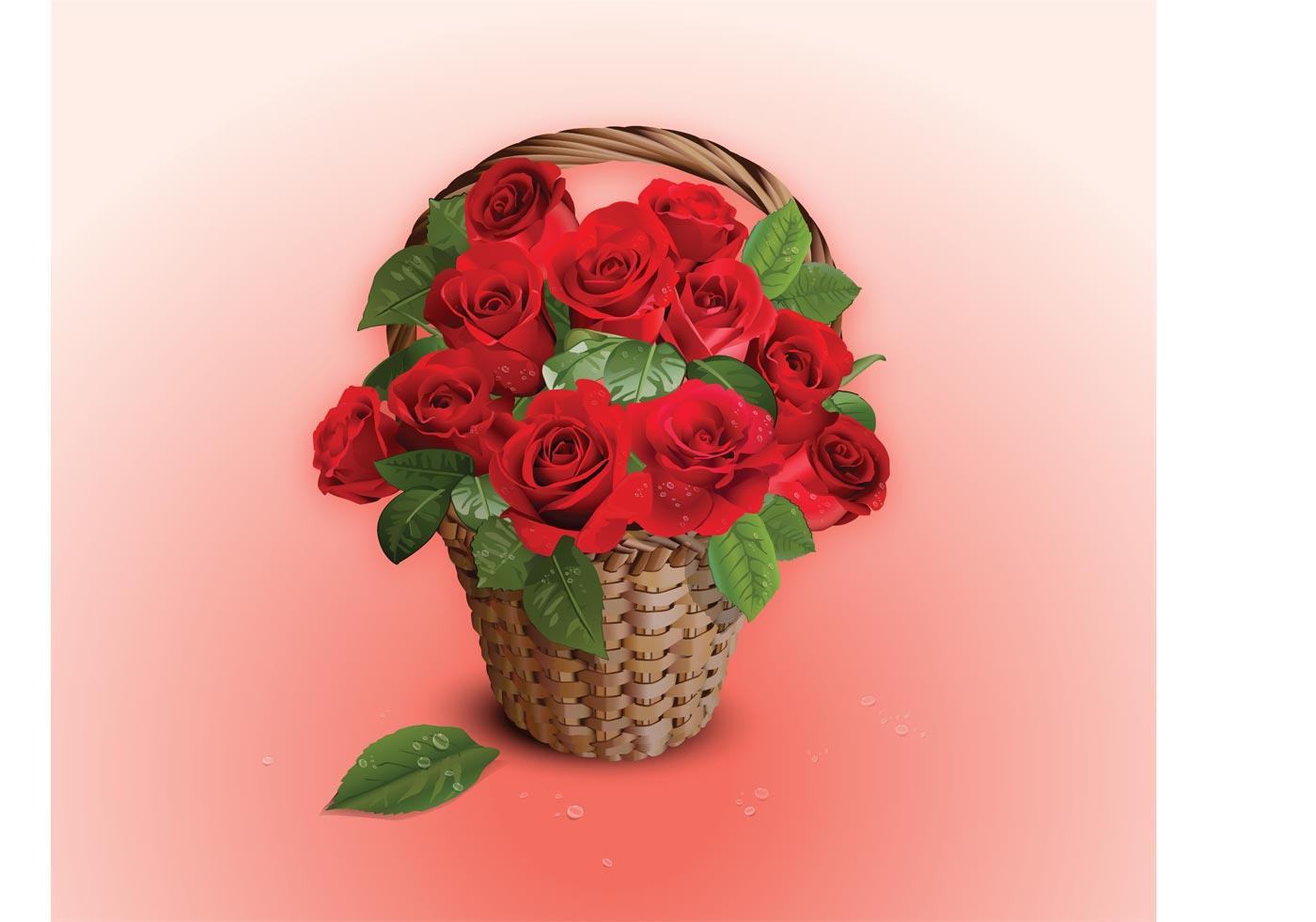 Flower Baskets Vector : Vector roses basket download free art stock
